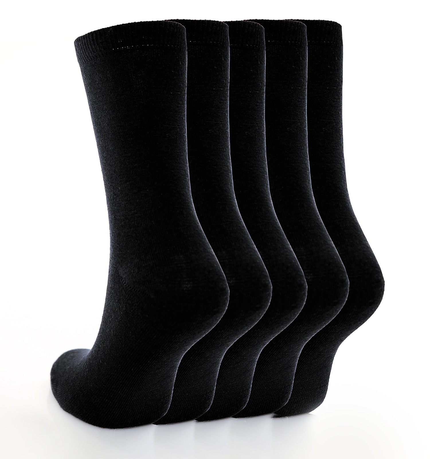 Children's 5pk Plain Black Cotton Rich Socks.