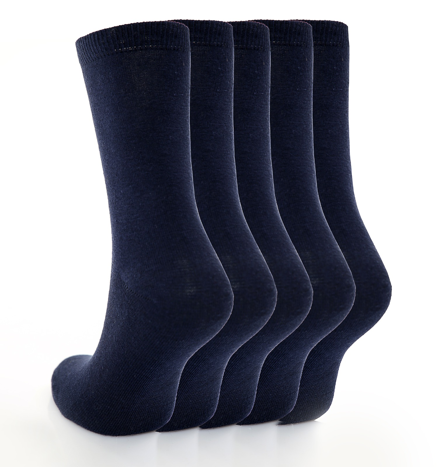 Children's 5pk Plain Navy Cotton Rich Socks