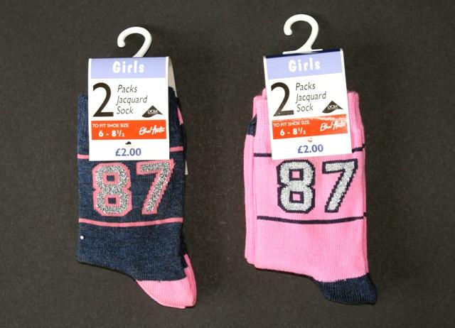 Childrens 2pk Glitter Socks