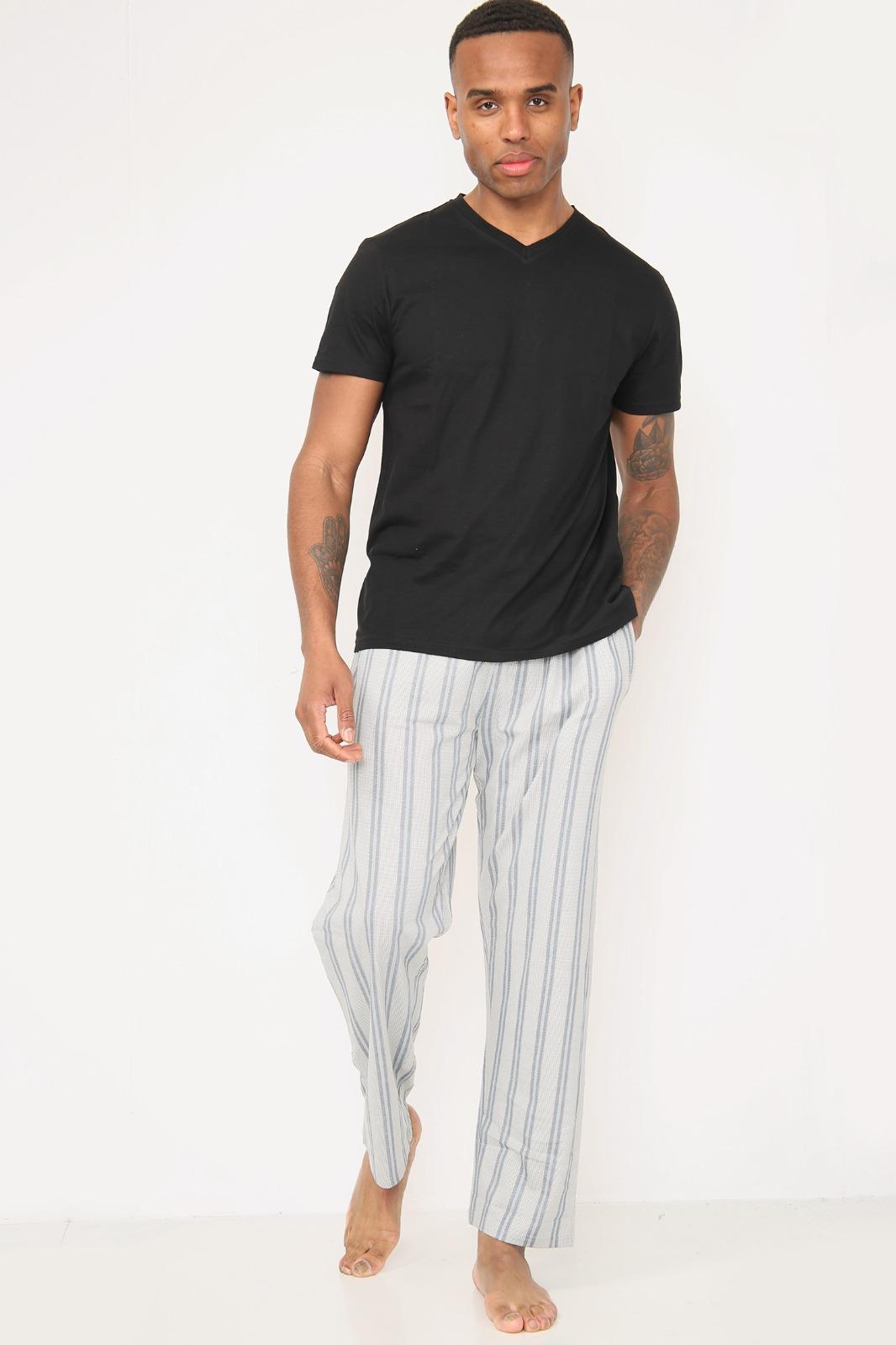 Mens V-Neck Jersey Short Sleeve Top With Jersey Aop Stripe Pant