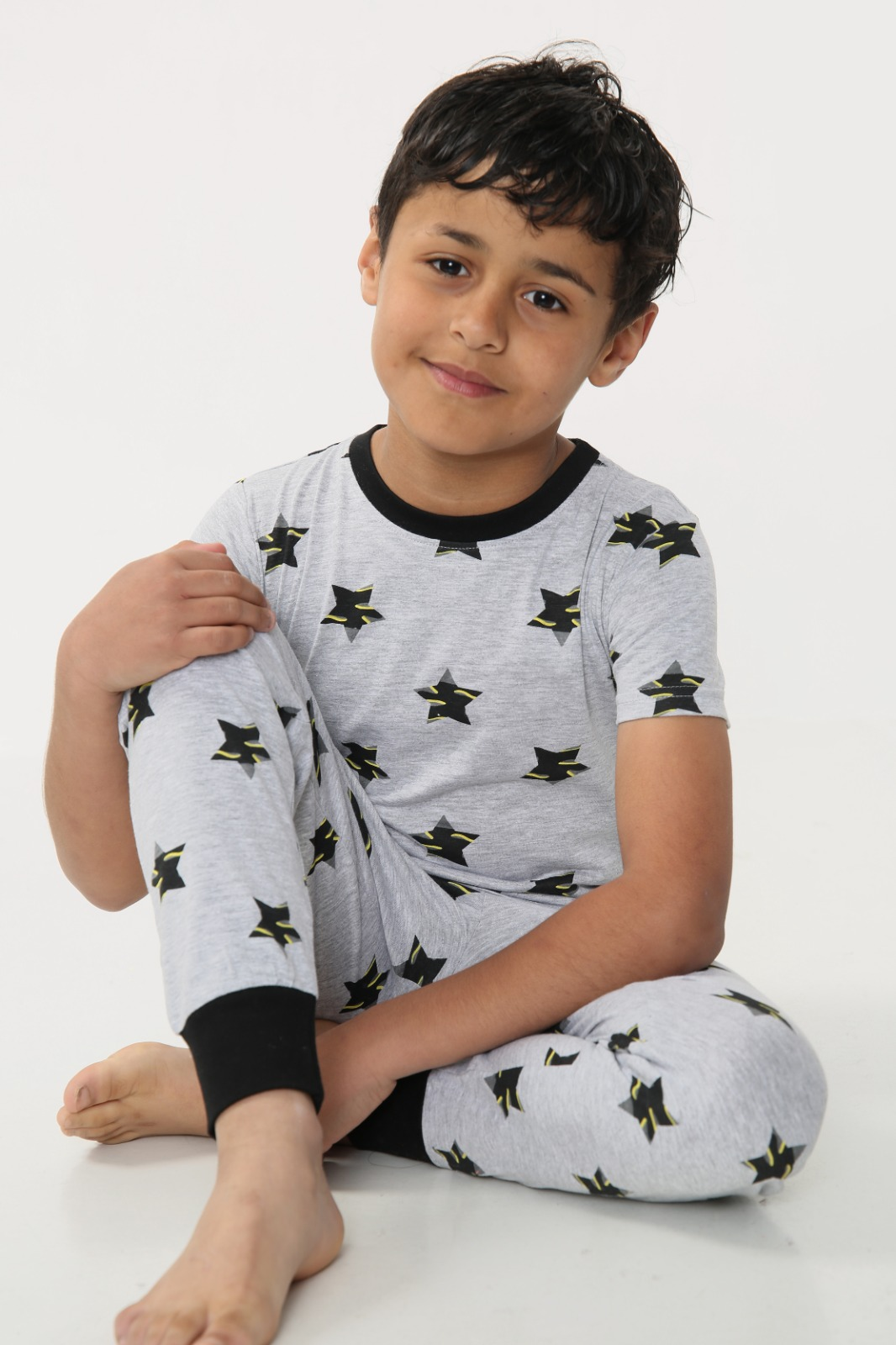 Boys Star Print Short Sleeve Long Pyjamas