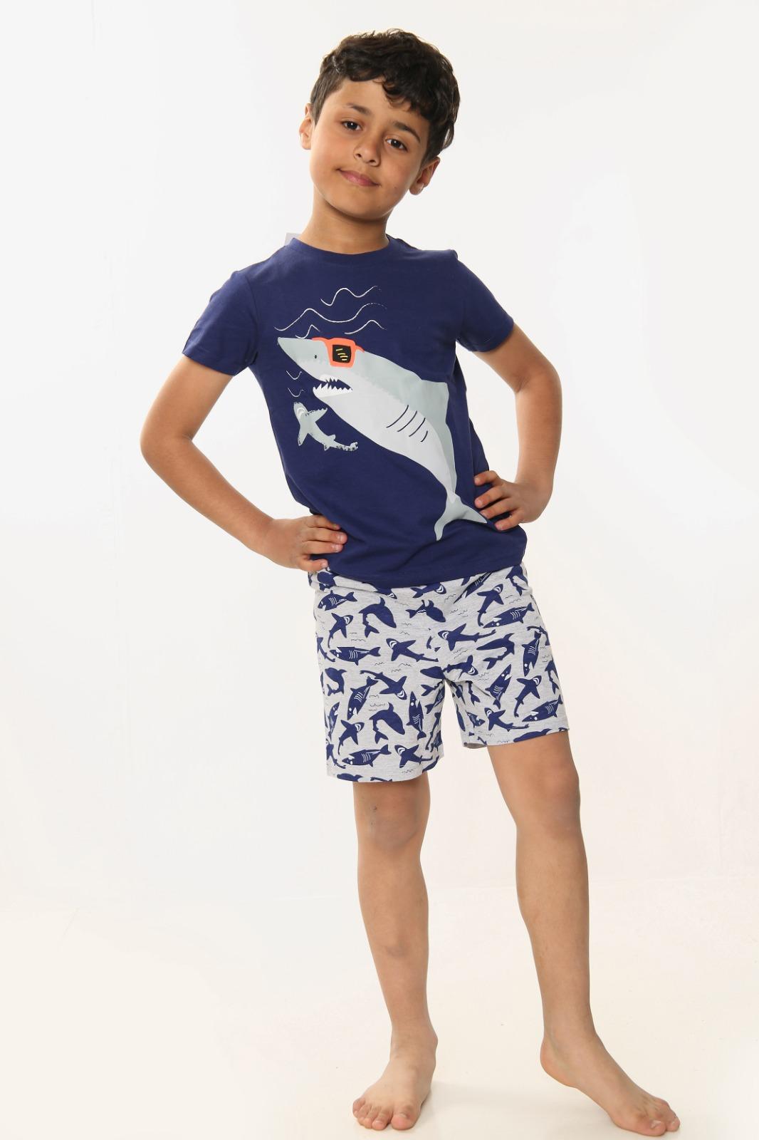 Boys Shark Print Short Sleeve Shorts Pyjamas