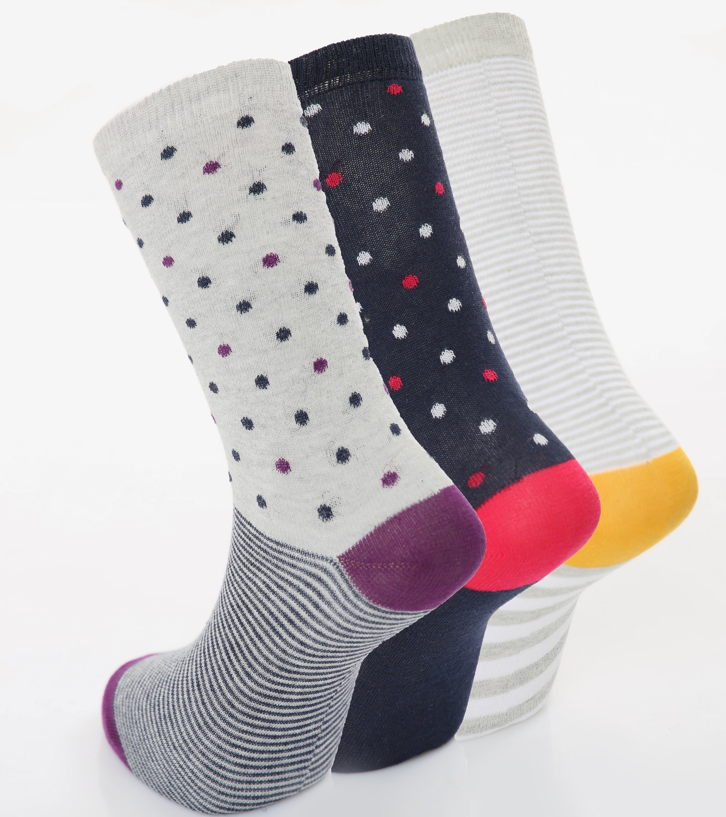 Ladies 3pk Spots & Stripe Cotton Rich fashion Socks