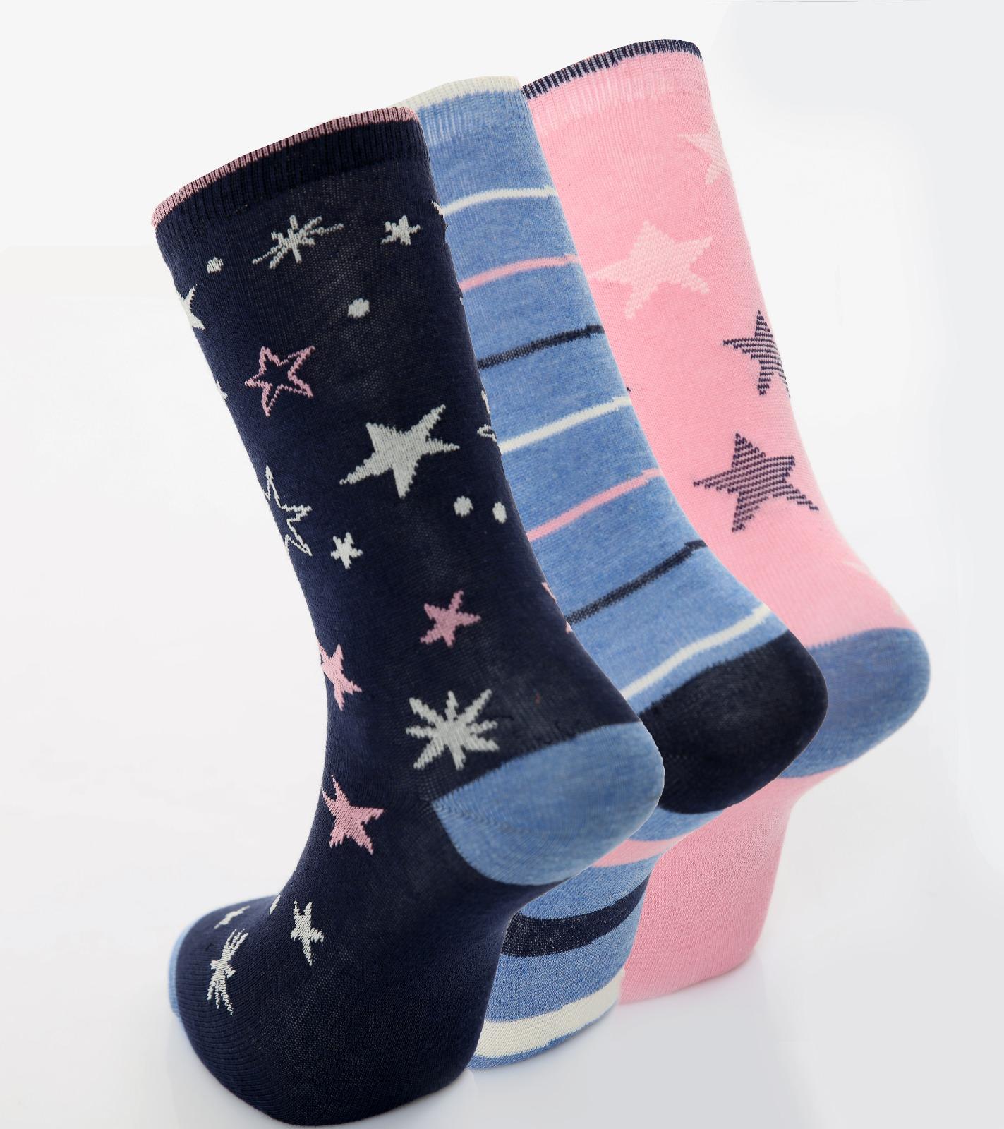 Ladies 3pk Star Detail Cotton Rich fashion Socks