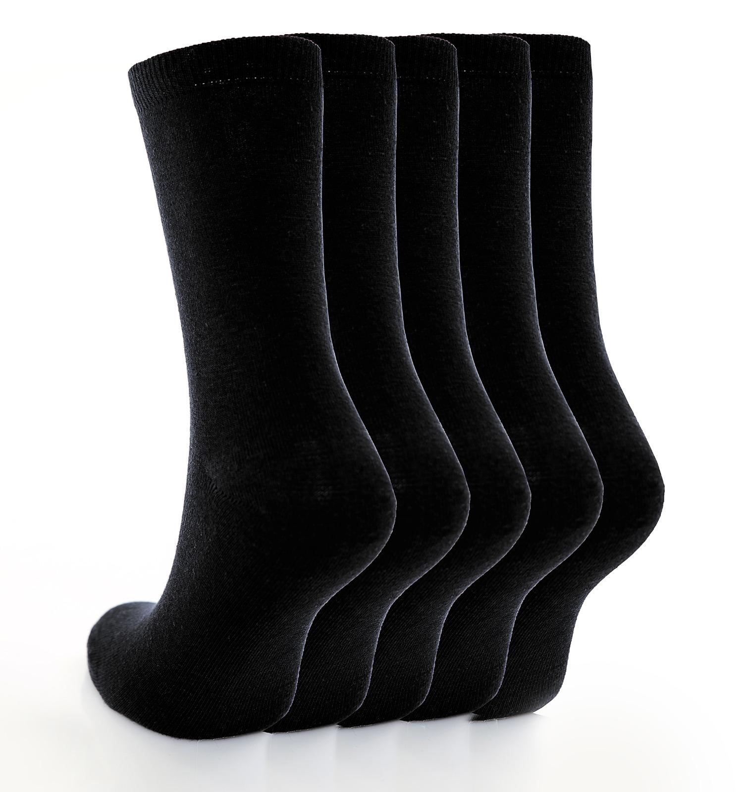 Children's 5pk Plain Black Cotton Rich Socks